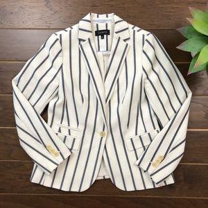 [Talbots] NWOT White Navy Stripe Blazer Career 6